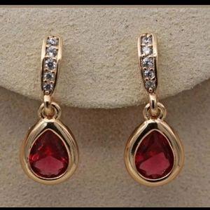New 18ktgf ruby cz earrings